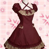Classic Cotton Square Cap Sleeves Empire Knee-length Bow Ruffles Classic Lolita Dress