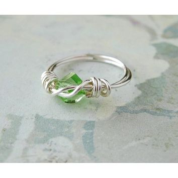 Peridot Helix Crystal Silver Wrapped Ring , August Birthstone - Size 2.5 Pinkie