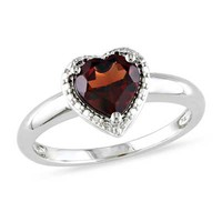 7.0mm Heart-Shaped Garnet Ring in Sterling Silver