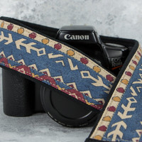 Arrows Southwestern Camera Strap, Tribal, dSLR, SLR, Denim, Blue, Native American Inspired, 211w
