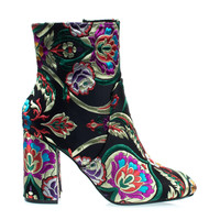 Anesha3 Black By X2B, Chunky Block Ankle Boots w Russian Oriental Embroidered Floral Stitching