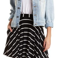 Striped Skater Skirt with Pockets by Charlotte Russe