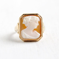 Antique 10K Yellow Gold Cameo Ring - Vintage Art Deco 1930s Size 6 Hallmarked P.S.Co. Carved Shell Fine Jewelry