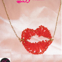 Red lips pendant seed beads copper wire chain necklace jewelry gift