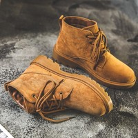 Fashion vintage Martin boots for girls British style students frosted versatile short tube women's boots