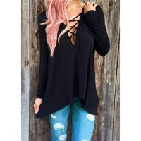 Wholesale Fresh Style Lace-Up Hooded Solid Color Long Sleeve T-Shirt For Women (BLACK,M), Long Sleeves - Rosewholesale.com
