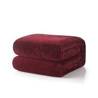 Tache Solid Embossed Merlot Red Sherpa Throw Blanket (62087)