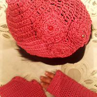 "L/XL Fuschia Pink ""Handmade"" Crochet Beanie Set. Ready to Ship"