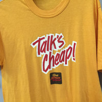 Yellow Vintage Tshirt, 1980s Bell Phone Center Talk is Cheap Vintage 80s Tshirt Stranger Things era vintage phone company 80s vintage tee XL