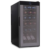 18 Bottle Wine Cooler Refrigerator - White Red Wine Fridge Chiller Countertop Wine Cooler, Freestanding Compact Mini Wine Fridge 18 Bottle w/ Digital Control, Airtight Glass Door - NutriChef PKCWC180