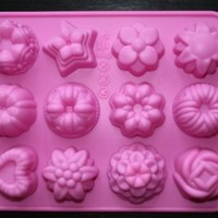 Longzang 12-Flower Silicone Cake Chocolate Craft Candy Baking Mold