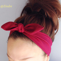 Luscious Burgundy Dolly Bow Headband