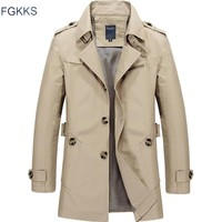 FGKKS 2018 Men Jacket Coat New Fashion Trench Coat Brand Jackets Mens Casual Slim Fit Overcoat Jacket Male Outerwear