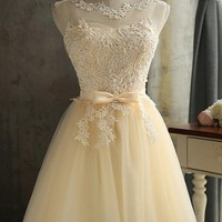 Patchwork Lace Grenadine Bow Bridesmaid Homecoming Party Round Neck Mini Dress