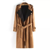 Long-Sleeve Notched Tie-Waist Suede Trench Coat