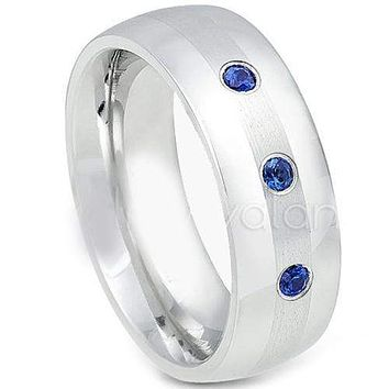 Tungsten Rings For Men White Tungsten Carbide Dome Ring With Created Blue Sapphire