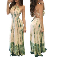 Green Strappy Back-tied Maxi Dress