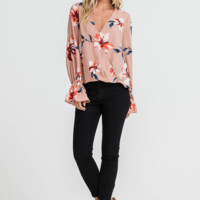 Mila Floral Cuffed Blouse