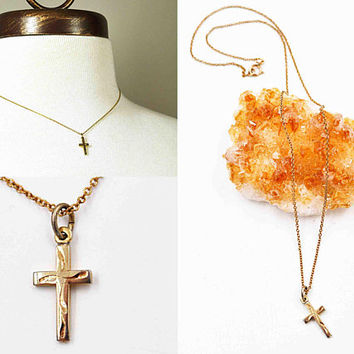 Vintage 12K Yellow Gold Filled Cross Pendant Necklace, MSCO 14K GF Cable Chain, Chased, Swirl, 3D, Minimalist, Lovely! #c498