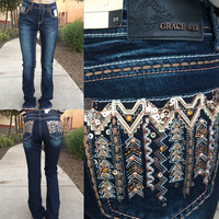 GRACE IN L.A. SEQUIN ARROW EASY BOOTCUT JEANS
