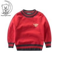 Pattern Casual Style Knitted Gucci O-neck Kids Thick Sweater