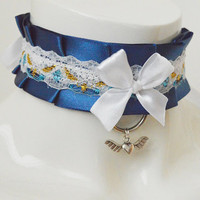 Kitten play collar - Angelic nights -  nayv blue and white - bdsm proof ddlg princess cute angel lolita petplay choker with leash ring