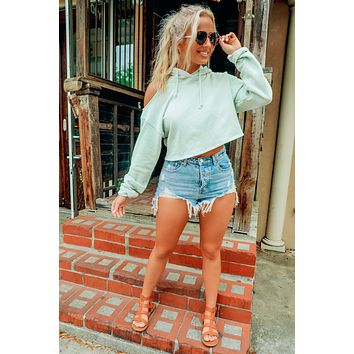 Morning Out Cropped Hoodie: Mint