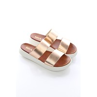 Rose Gold Double Strap Sandals - Mia