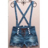 061401 Retro double-breasted high waist denim overalls | Shopping13