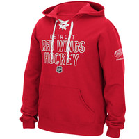 Men's Detroit Red Wings Reebok Red Stitch Em Up Lace Hoodie