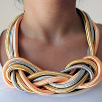 Modern necklace // Braided cord necklace // Contemporary necklace // Unique necklace // Multicolored necklace // Statement necklace