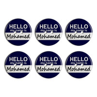Mohamed Hello My Name Is Plastic Resin Button Set of 6