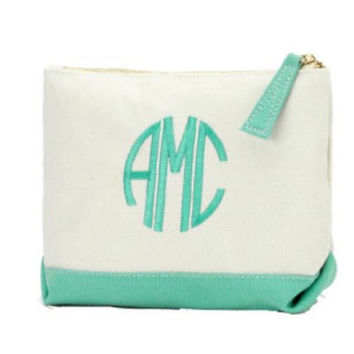 Monogrammed Mint Cosmetic Bag. Great BridesmaidGifts
