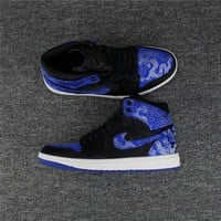 Air Jordan 1 Retro Black/Royal Blue Dragon Totem Basketball Shoe