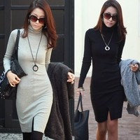Slim Long Sleeve Package Hip Womens Stretch Bodycon Turtleneck Dress Front Slit
