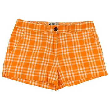 Women's Shorts in White and Orange Madras by Olde School Brand