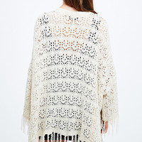 Pins & Needles Chenille Tassle Kimono in Ivory - Urban Outfitters