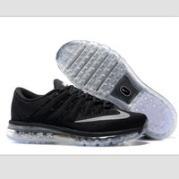 NIKE Trending AirMax Toe Cap hook section knited Fashion Casual Sports Shoes Black transparent soles (light grey hook)