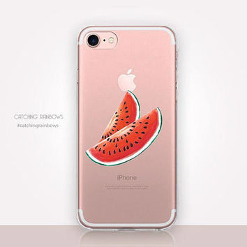 Transparent Watermelon Phone Case - Transparent Case - Clear Case - Transparent iPhone 7 - Samsung S7 - Soft TPU - Gel Case - iPhone SE