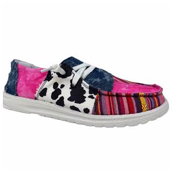 Gypsy Jazz Color Block Cow Serape and Star Print Shoes