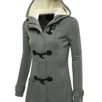 J.TOMSON Womens Toggle Hooded & Double Breasted Trench Coat