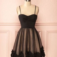 Black Chiffon Bowknot Homecoming Dress