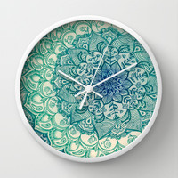 Emerald Doodle Wall Clock by Micklyn