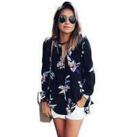 JECKSION Womens Chiffon Blouse 2017 Fashion Floral Printing Loose Long Sleeve Tops V-Neck Lady Clothes #LEN1