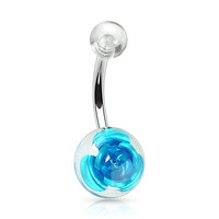 Blue Metal Rose Embedded in Clear Acrylic Ball 316L Surgical Steel Navel Ring