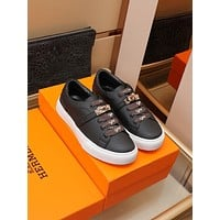 HERMES 2021Men Fashion Boots fashionable Casual leather Breathable Sneakers Running Shoes08100cx