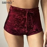 .Velvet High Waist Lace Up shorts