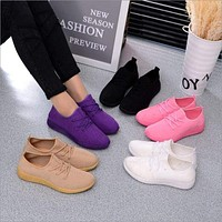 Women's Casual Breathable Air Mesh Shoes, Lightweight Slip On, Black/White/Brown/Purple/Pink Ladies Walking Shoe, Summer Flats