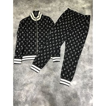 LV 2020 new color matching letter printing sports suit two-piece