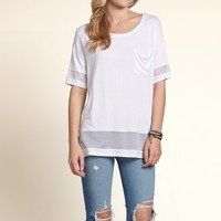 Mesh Panel Detail Tunic Top